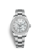 ROLEX DATEJUST 31 MM, OYSTERSTEEL, WHITE GOLD AND DIAMONDS
