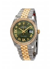 ROLEX DATEJUST 36 MM, OYSTERSTEEL, YELLOW GOLD AND DIAMONDS